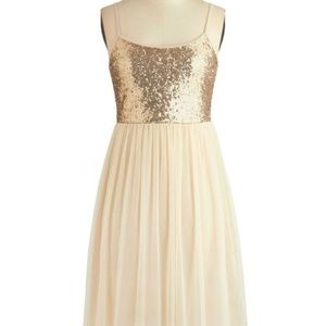 Modcloth Gold Sequin Tulle Ballerina Dress - Small